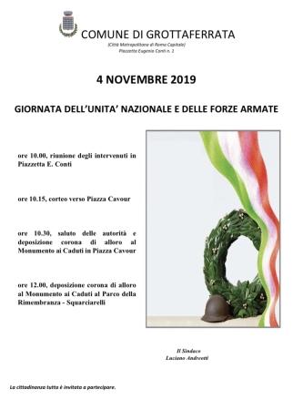 4 Novembre, le celebrazioni della Giornata dell'Unità Nazionale e delle Forze Armate a Grottaferrata